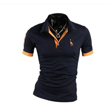 DCCKKFQ fashion button polo shirt men solid slim fit short sleeve polo shirts v neck turn down collar 2018 summer casual shirt plus size