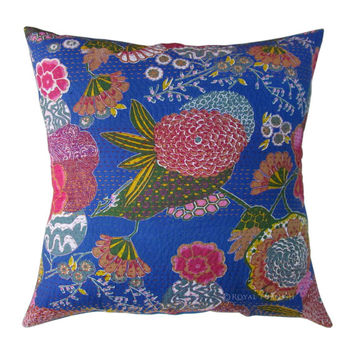 """24"""" Blue Color Indian Kantha Thread Floral Cotton Cushion Pillow Covers India Ethnic Decorative Art"""