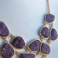 Eggplant Purple Plum Grape Wine Druzy Drusy  Bib Statement Lightweight Necklace