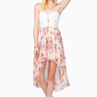 Lace Bustier Daisy Hi Lo Dress