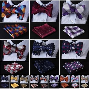 Men's Silk Butterfly Bow tie Set W/ Pocket Square