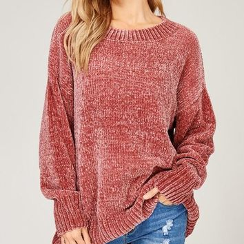Cozy Pullover Velvet Yarn Sweater - Rose