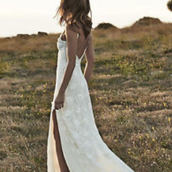 BIG SALE Country Boho Lace Wedding Dresses Beach Bridal Dress Gown with Slit