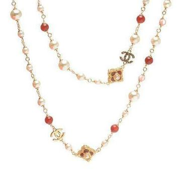 DCCKNQ2 Chanel Woman Fashion Logo Pearls Necklace For Best Gift-13