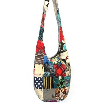 2017 Women Hippie Patchwork Messenger Large Hobo Shoulder Gypsy Bag Travel Tote Handbag