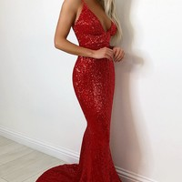 Fire and Ice Red Sequin Sleeveless Spaghetti Strap Plunge V Neck Backless Maxi Dress