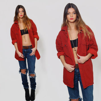 410775578 Vintage 90s Oversized DENIM Shirt LL Bean Button Down Shirt Pinstripe Shirt  Burnt Orange Grunge Boyfriend