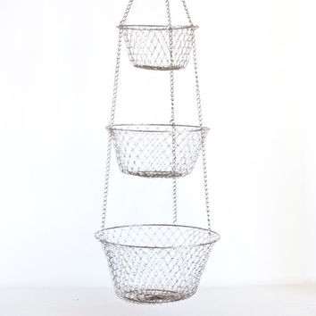 Vintage Hanging Fruit Basket, 3 Tier Wire Mesh Link Tomato Onion Fruit Storage, Aged Metal Rustic French Farmhouse Decor