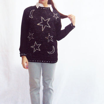 STAR PRINT top Bejeweled 90s sweater  navy + white Intarsia knit sweater Stars + moon CRYSTALS metallic  ( s, m, small, medium )