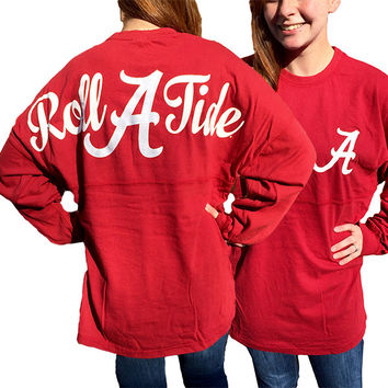 Alabama Crimson Tide Women's Logo Sweeper Long Sleeve Oversized Top Shirt