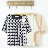 Dazzling Sequins Decorated Flowers Pattern Half Sleeves Blouse Top 3 Colors