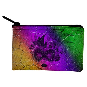 Mardi Gras Party Mask Distressed Grunge Flag Coin Purse