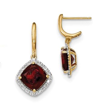 14K Yellow Gold Garnet w/Diamond Halo Post Dangle Earrings