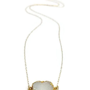 14kt Gold fill Sparkling White Druzy Gemstone Sideways Pendant Necklace. Dainty Geode Natural Stone. Modern Minimalist Jewelry. Gift for Her
