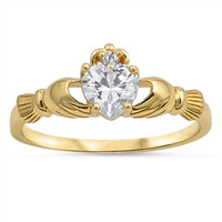 Yellow Gold Plated Silver Claddagh Ring