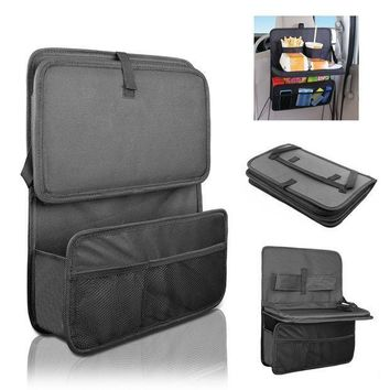 CREYON Car Seat Organizer / Travel Storage Bag / Auto Seat Back Organizer with Foldable Food Tray Table Mesh Pockets Drinks Holder