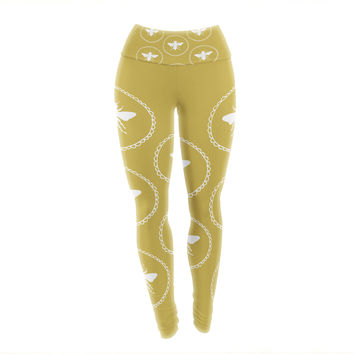 "Jennifer Rizzo ""Busy As A Bee Maise Gold"" White Nature Yoga Leggings"