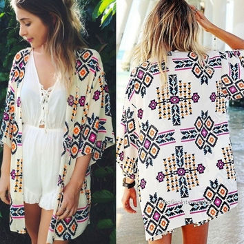 Sexy Fashion Women's 3/4 Sleeve Geometric Print Chiffon Cardigan Beach Loose-fitting Blouse Top Cover up = 1838544964
