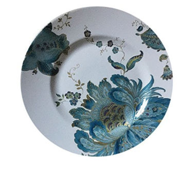 PTS International Eliza Blue Floral Pattern Dinner Plates - Set of 4