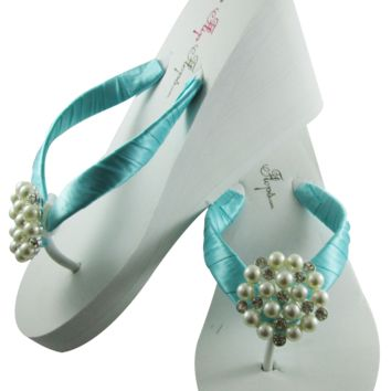 Tiffany Blue Bridal Flip Flops with Pearl Embellishment- 3.5 inch heel on White or Ivory