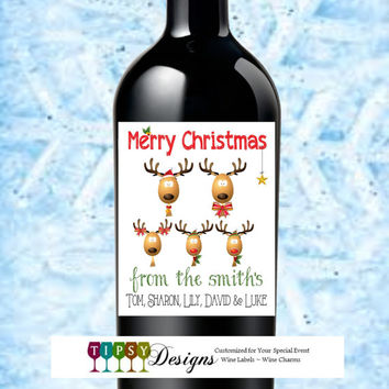 Christmas Wine Bottle Labels Reindeer Happy Holidays Seasons Greetings Customized Personalized Set of 4
