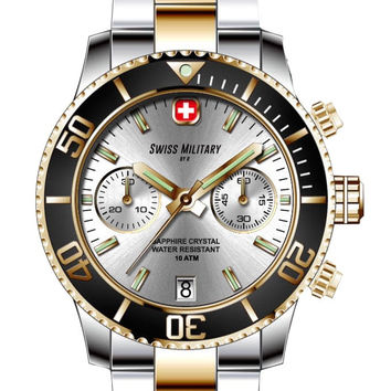 Swiss Military by R 09502 357J A Alpha Men's Watch Chronograph Two-Tone Stainless Steel