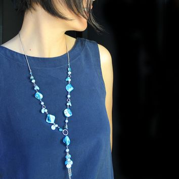 Teal Shell long lariat necklace bridesmaids gifts Free US Shipping handmade Anni Designs
