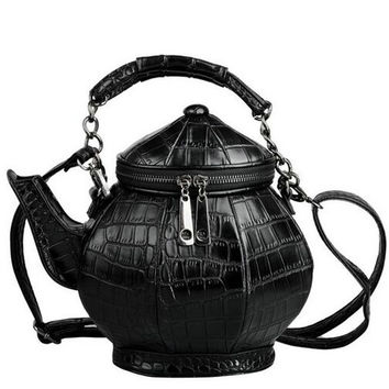 2017 new fashion funny teapot shaped handbag women's stone pattern leather single shoulder bag gothic personalized party bags