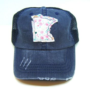 Minnesota Hat - Navy Blue Distressed Trucker Hat - Pink Floral Applique - All United States Available