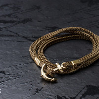 Nautical khaki anchor bracelet