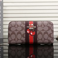 COACH Women Leather Zipper Shopping Wallet Purse