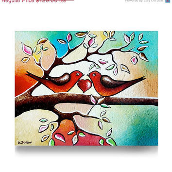 Original Acrylic Painting - Love Birds Painting - Whimsical Folk Art Animal Art - Romantic Valentine Decor Wedding Gift 8x10x1.5