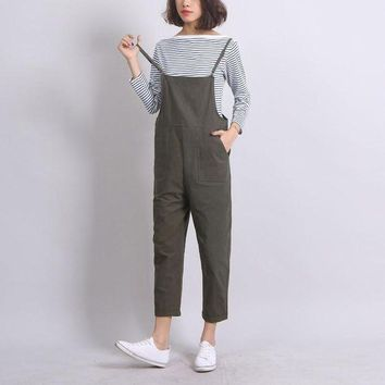 PEAPGC3 Ankle-Length Women Loose Suspender Trousers Solid Color Casual High Waist Overalls Autumn Summer Jumpsuits Female Long Pants