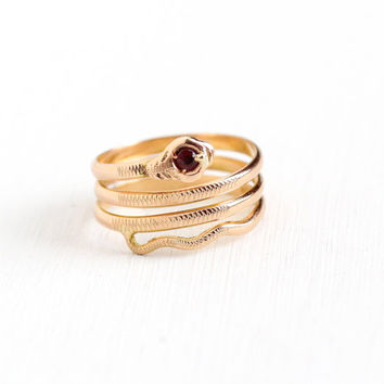 Estate 18k Yellow Gold Coiled Snake Garnet Ring - Vintage Victorian Style Size 5 1/2 Red Gemstone 750 Gold Figural Serpent Fine Jewelry