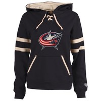 Women's Old Time Hockey Navy Blue Columbus Blue Jackets Grant Lace-Up Slim Fit Hoodie