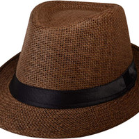 Dropship Straw Fedora Gangster Hat with Black Band