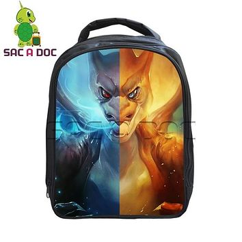Japanese Anime Bag  Pokemon Mega Charizard Split Printed School Backpack Cartoon Pokemon Kindergarten Backpack Kids Boys Girls School Bags AT_59_4
