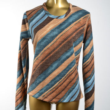 Blue and Brown Wool Angora Pullover Sweater