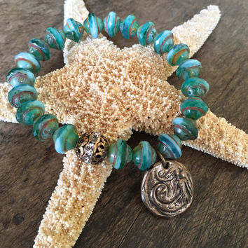 Mermaid Turquoise Knotted Crystal Bracelet,  Beach Boho Beaded Jewelry by Two Silver Sisters