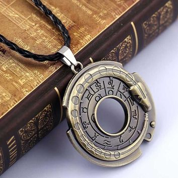Unisex Metal Jewelry Amulet Pendant Necklace Lucky Protective Talisman Black Leather Chain For Men Women