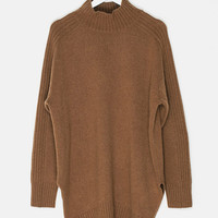 High Collar Side Slits Cashmere Sweater