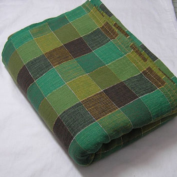 Green & Brown Plaid Woven Cotton Tablecloth from Cannon with Gold Thread, Size 102 x 76 Inches, Circa 1970s, ~~by Victorian Wardrobe