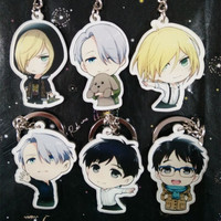 Fancy&Fantasy Hot Anime YURI!!! on ICE Keychain Victor Nikiforov Yuri Katsuki Pendant Keyring Cosplay Phone Bag Pendant keychain