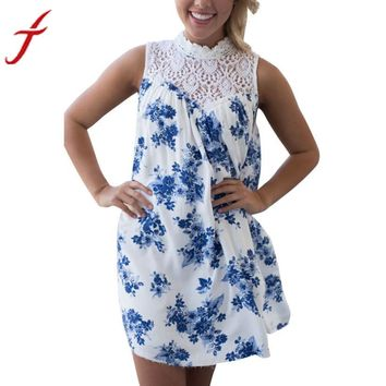 Summer Dress Sleeveless Blue Floral Printed Lace Splice Casual Beach Evening Sundress