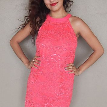 Secret Crush Pink Lace Halter Shift Dress