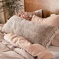 Amped Fleece Fringed Body Pillow | Urban Outfitters