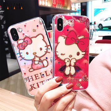 Blue Ray KT Cat Case For iPhone 6 6s Soft TPU Shiny Bling Cartoon Phone cases Hello Kitty for iPhone 7 8 plus 6 6S X Rubber Case