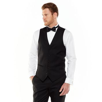 Marc Anthony Modern-Fit Wool Black Tuxedo Vest - Men