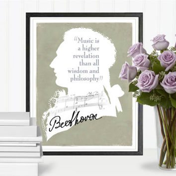 Music Quotes, Music Print, Print Quote, Beethoven Quote, Composers, Wall Art Print, Poster Art, Digital File, Instant Download, 8''x10''