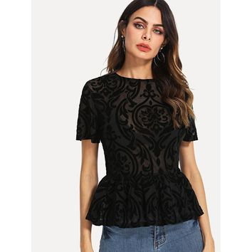 Ruffle Hem Fitted Flocked Mesh Top